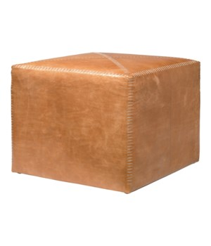 Large Buff Leather Ottoman