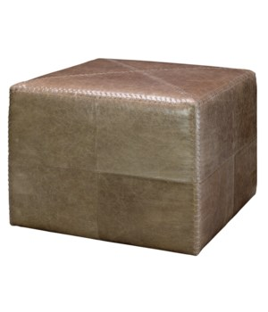 Large Taupe Leather Ottoman