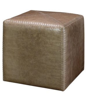Small Taupe Leather Ottoman