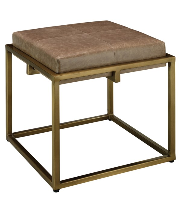 Shelby Taupe Leather Stool