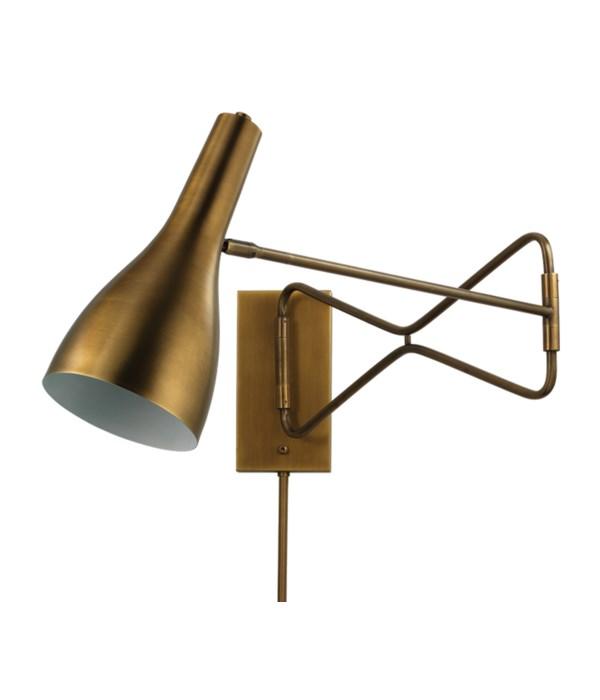 Lenz Antique Brass Swing Arm Wall Sconce