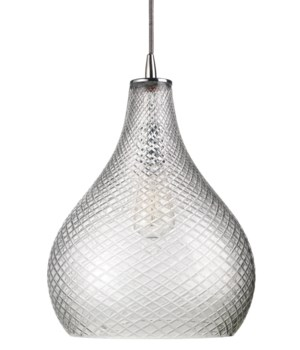 Large Cut Clear Glass Curve Pendant