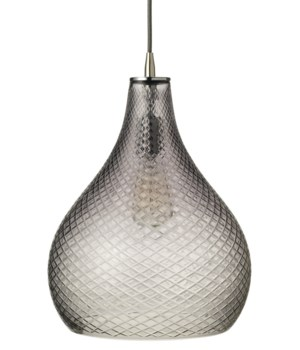 Large Cut Grey Glass Curve Pendant