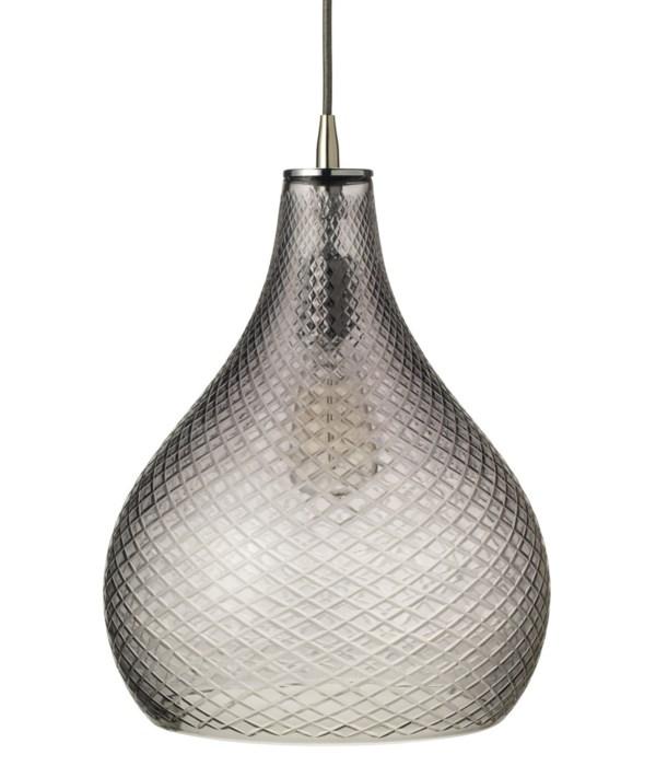 Large Cut Grey Glass Curve Pendant