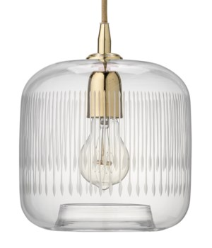 Contour Clear Glass and Brass Pendant