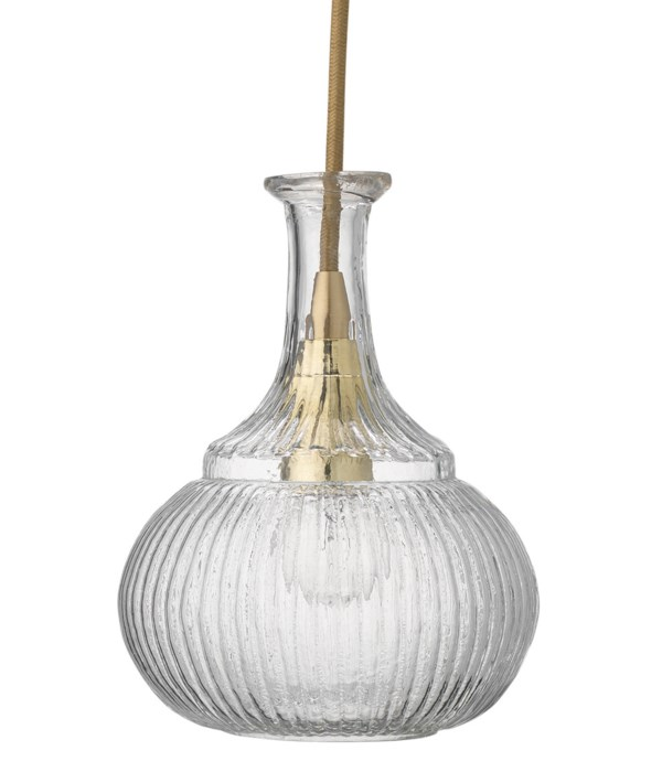 Olivia Carafe Clear Glass and Brass Pendant