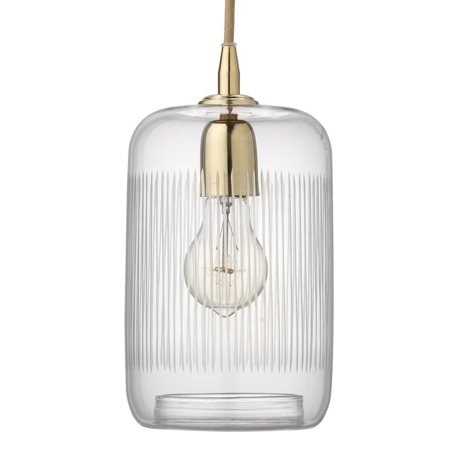 Silhouette Clear Glass and Brass Pendant