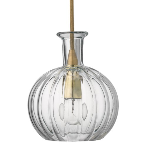 Sophia Carafe Clear Glass and Brass Pendant