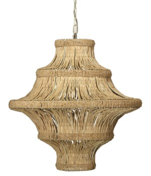 Whisper Chandelier in Natural Wood Beads
