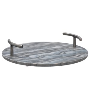 Grey Marble Round Carter T-Handle Tray