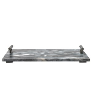 Grey Marble Rect Carter T-Handle Tray