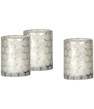 Small Lattice Glass Hurricanes, Set of 3