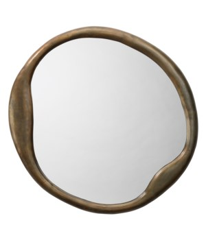 Organic Round Antique Brass Mirror