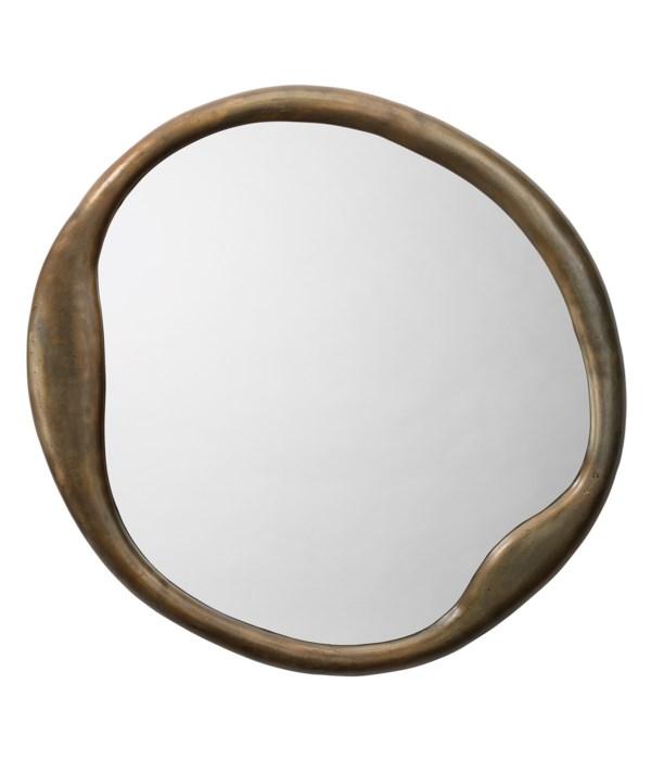 Organic Round Antique Brass Mirror
