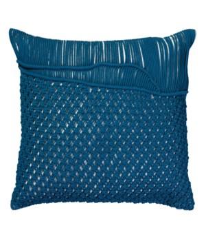 Saguaro Macrame Blue Pillow