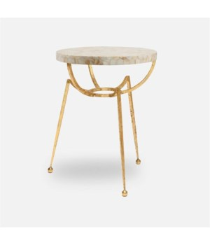 Leon Bright Distressed Gold Iron Side Table, Cream MOP Top