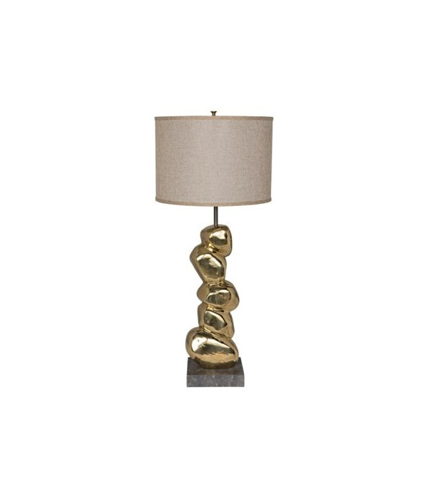 Remote Table Lamp w Shade, Brass