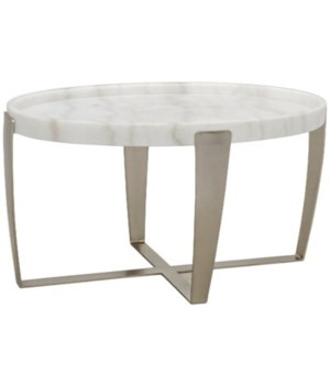Ennio Coffee Table, White Stone, Antique Silver
