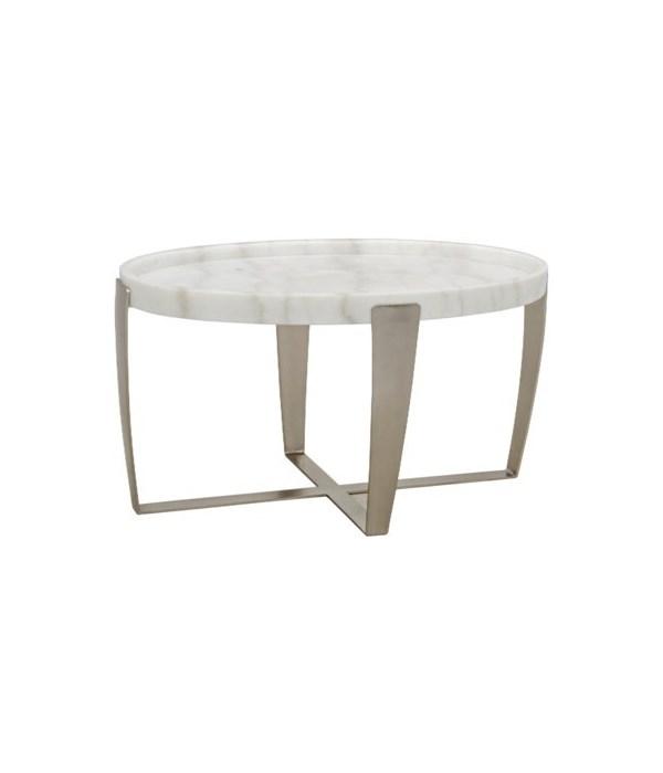 Ennio Coffee Table, White Stone, Antique Silver