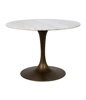 "Laredo Table 40"", Metal with Aged Brass, White Stone Top"