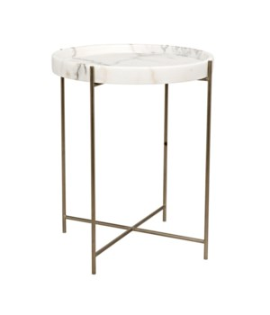 Chico Side Table, Metal with Antique Brass