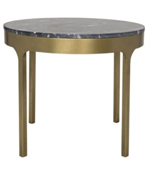 Carol Side Table with Black Stone, Antique Brass