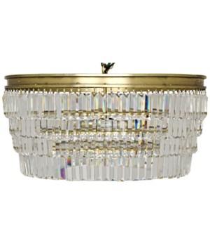 Crystal Pendant, Large, Antique Brass