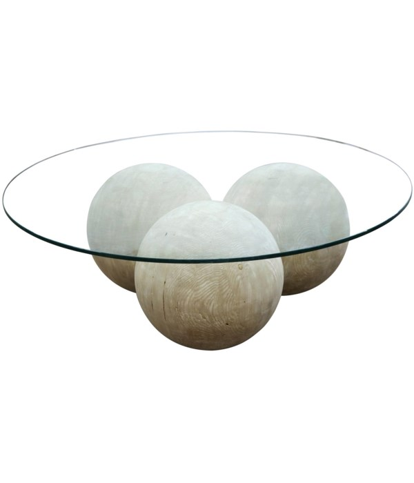 Allium Coffee Table with Glass, Gray Wash Wax