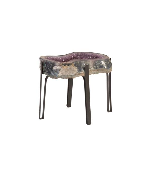 Amethyst Side Table, Metal Base