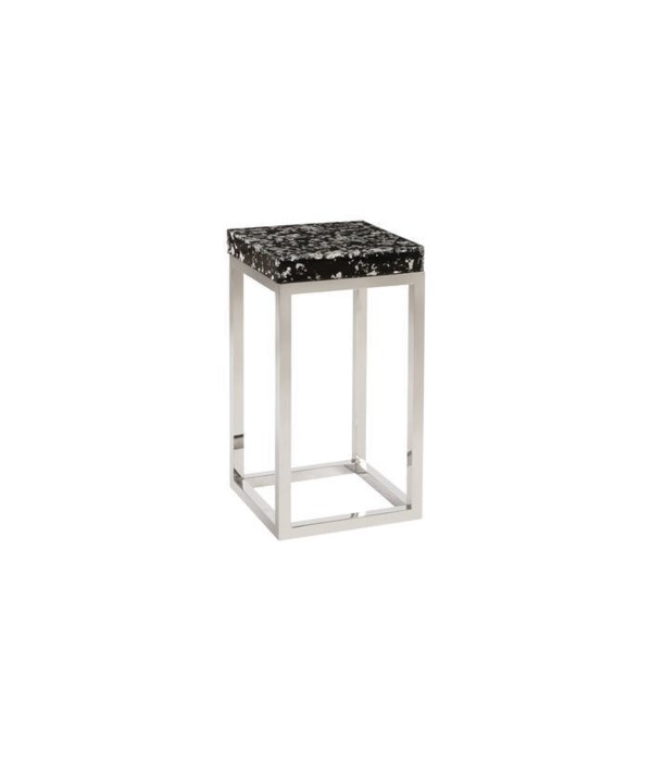 Captured Silver Flake, Side Table with Stainless Steel Base