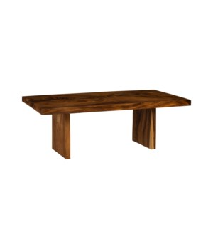 Chamcha Wood Dining Table, Stainless Steel Legs