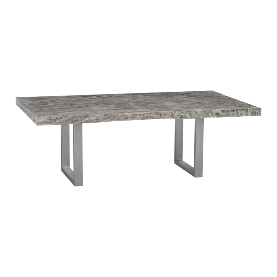 Chamcha Wood Dining Table, Grey Stone, Brushed Stainless Steel Legs