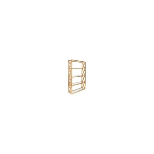 Gold Leaf X Etagere with Clear Glass Shelves