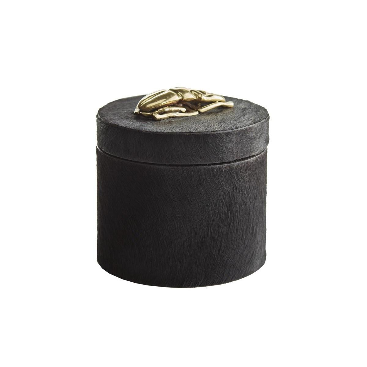 Lola Round Box, Black Hide, Antique Brass