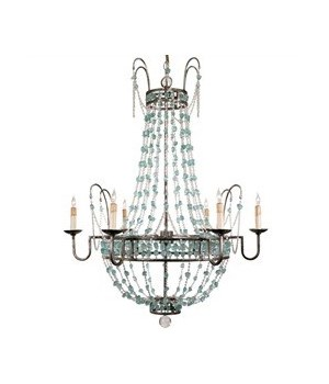 Versailles 6L Iron, Glass Chandelier, Small