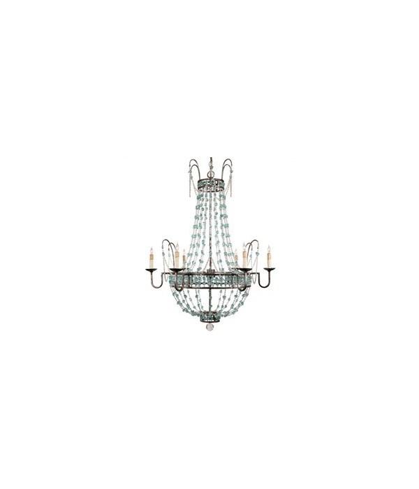 Versailles 6L Iron, Glass Chandelier, Small