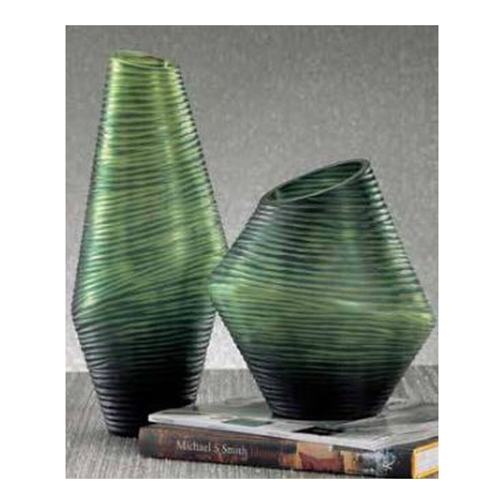 Groove Vase, Tall Green