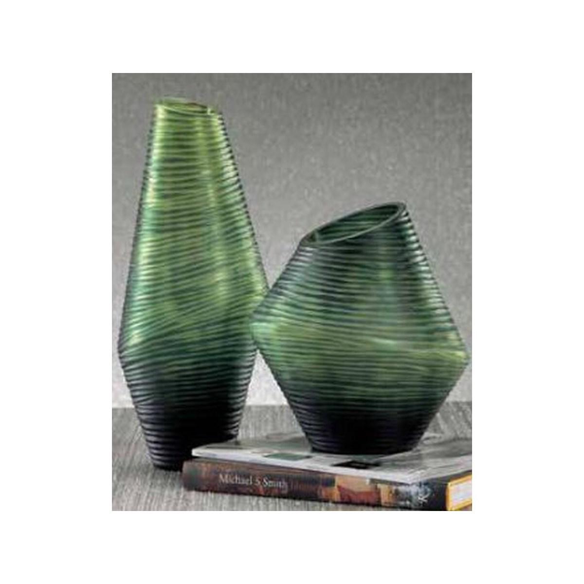 Groove Vase, Short Green
