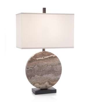 Layered Stone Disc Table Lamp