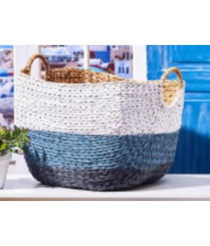 Blue and White Woven Basket, Large