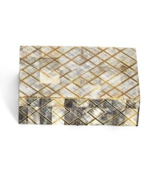 Medium Geometrics Chiseled Horn Box, Horn, MDF