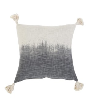 Grey Ombre Hand Woven Pillow, Ivory/Grey