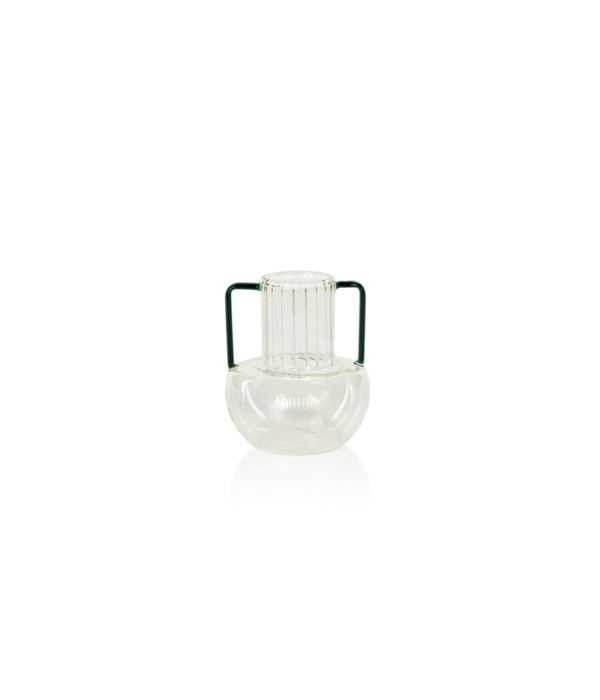 Vetro Optic Glass Vase with Green Handles, Small