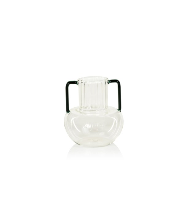 Vetro Optic Glass Vase with Green Handles, Large