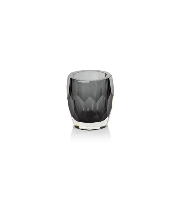 La Bohème Hand Made Polished Cut Glass Vase / Hurricane, Smoke
