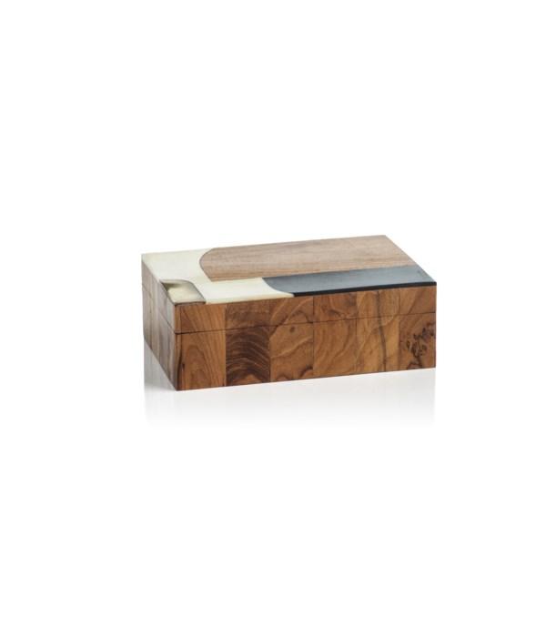 Lagos Abstract Inlaid Mango and Sheesham Wood Box