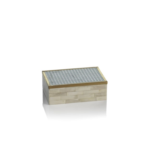 White Bone and Brass Box with Printed Pattern