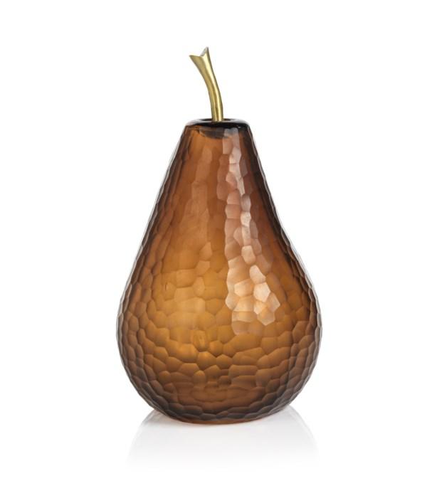 Decorative Amber Cut Glass Pear, Large