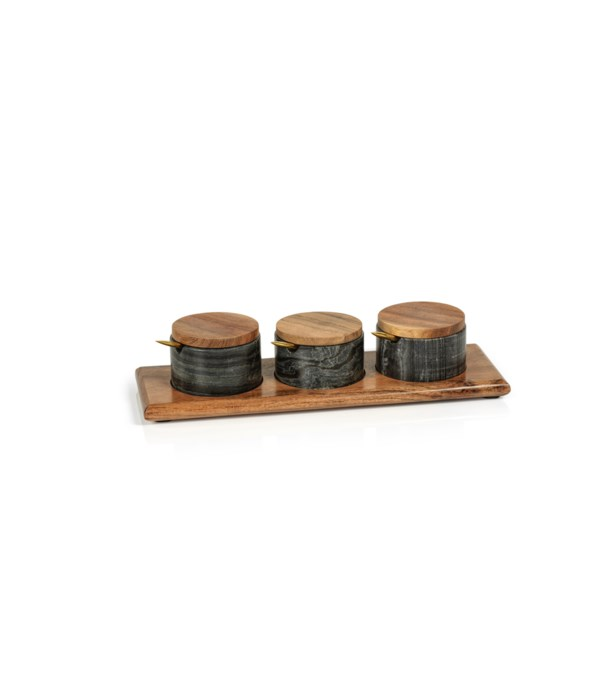 Nairobi Gray Marble and Acacia Wood Condiment Set, Set of 3
