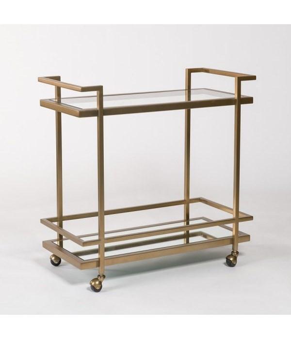 Brentwood Bar Cart, Antique Brass